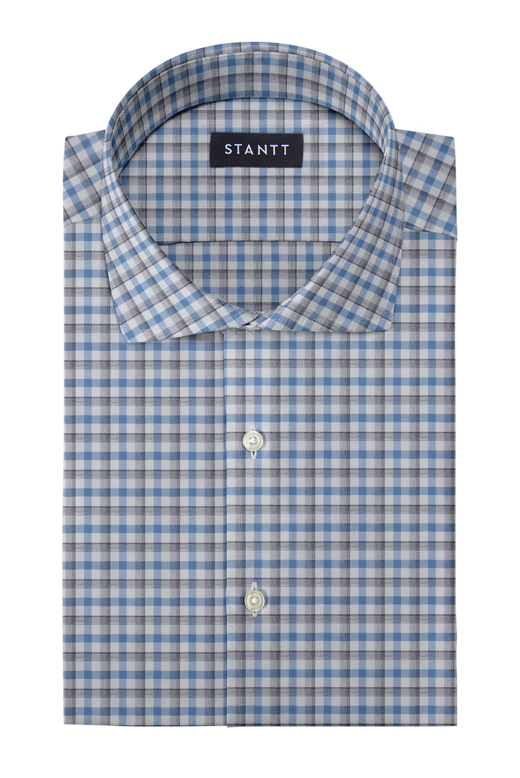 Melange Grey and Blue Check: Cutaway Collar, Barrel Cuff