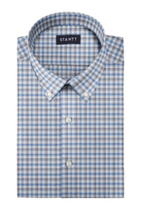 Melange Grey and Blue Check: Button-Down Collar, Barrel Cuff