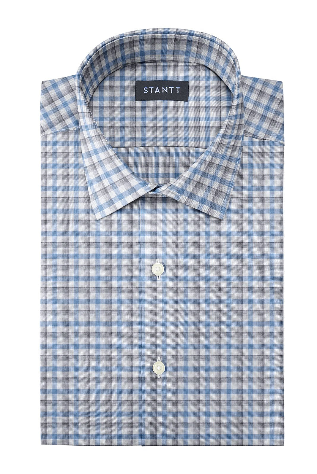 Melange Grey and Blue Check: Modified-Spread Collar, French Cuff