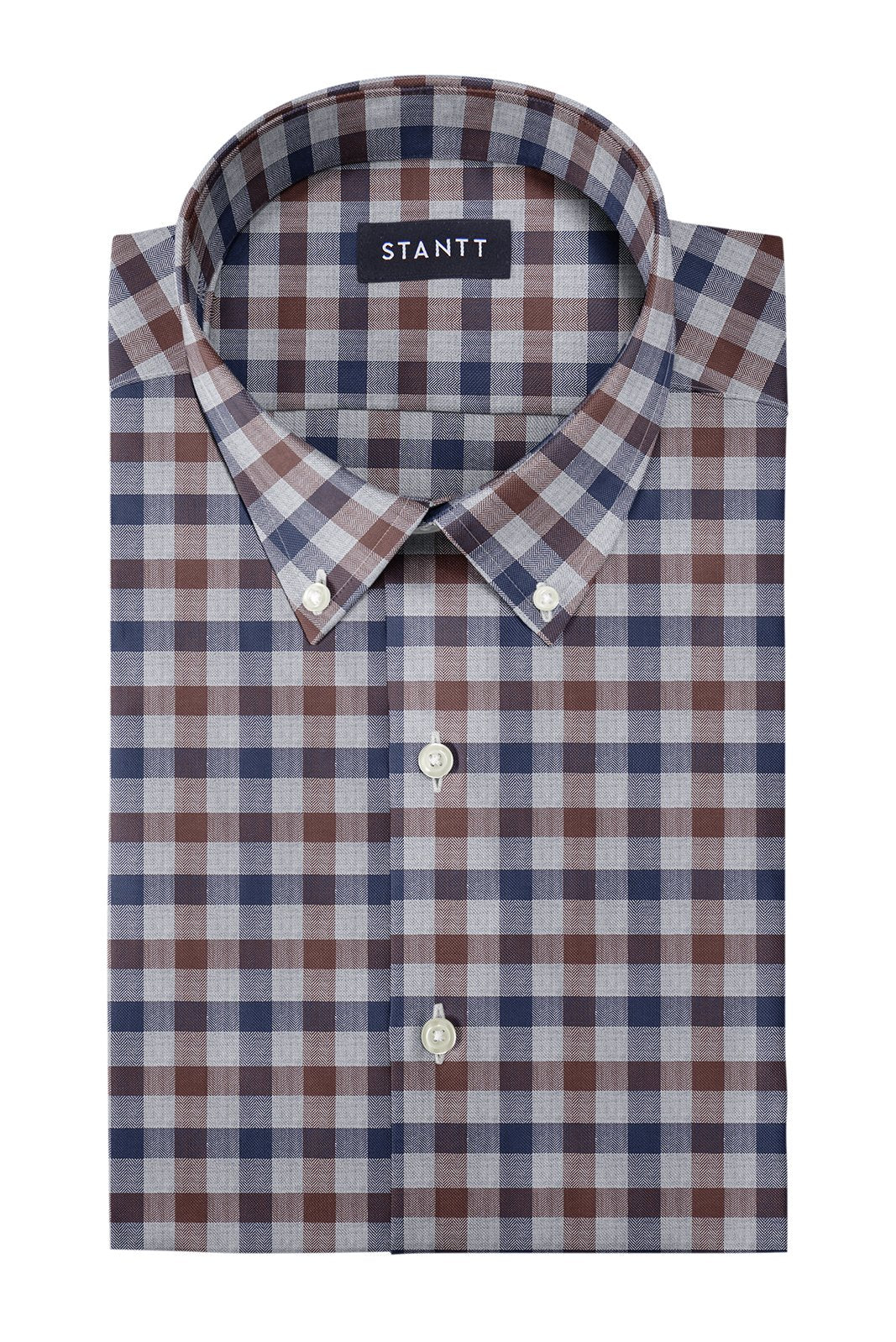 Brown Herringbone Gingham: Button-Down Collar, Barrel Cuff
