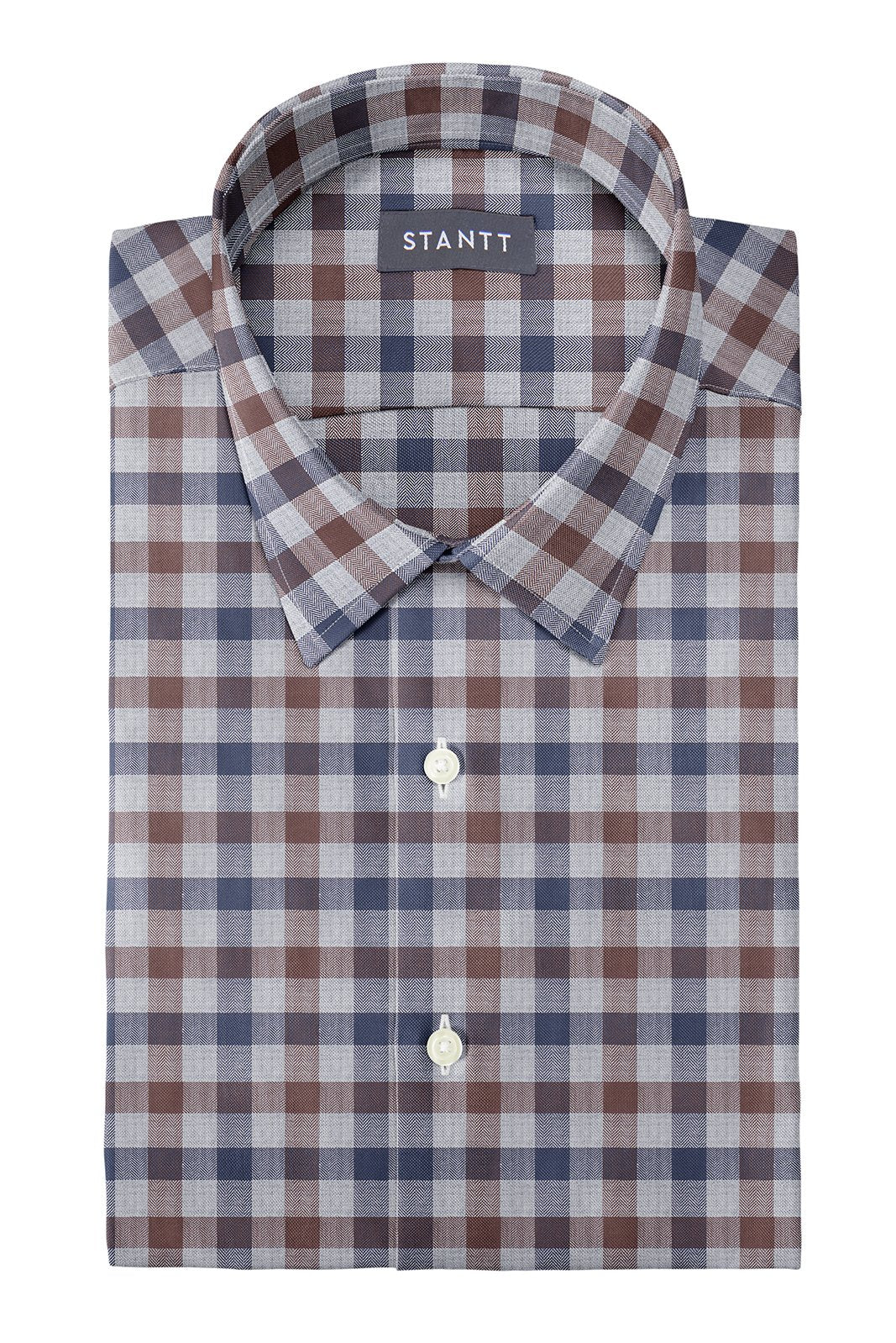 Brown Herringbone Gingham: Semi-Spread Collar, Barrel Cuff