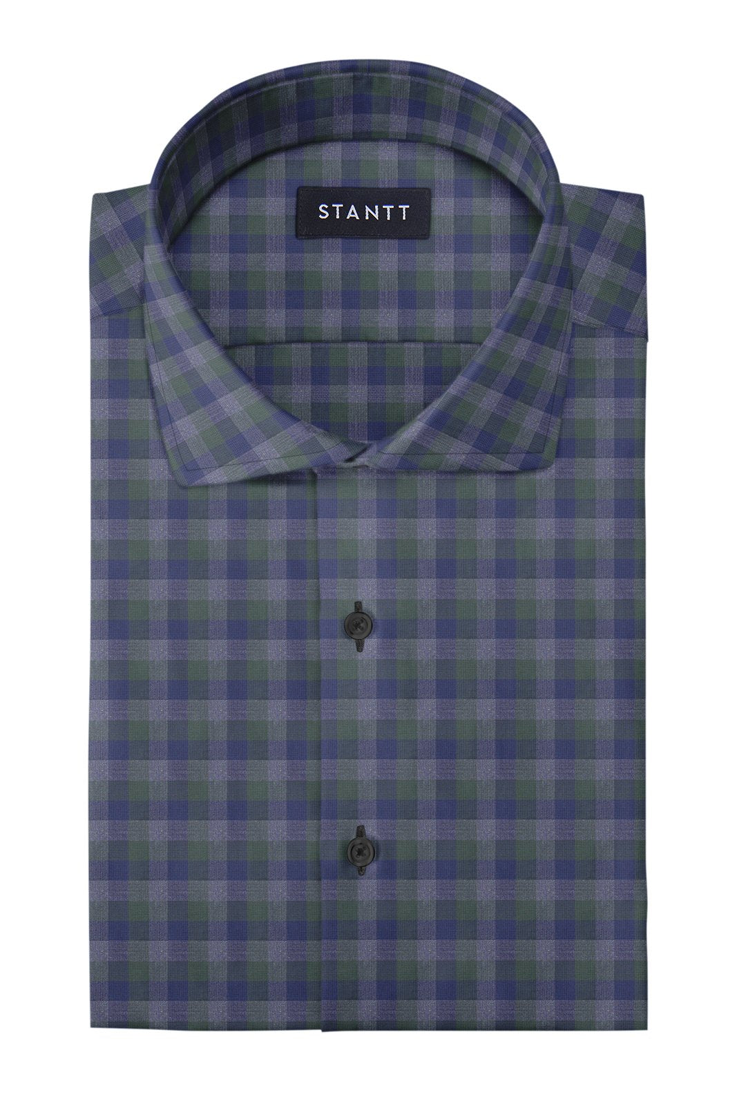 Hunter Green Charcoal Multi Check: Cutaway Collar, French Cuff