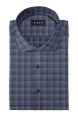 Hunter Green Charcoal Multi Check: Cutaway Collar, Barrel Cuff