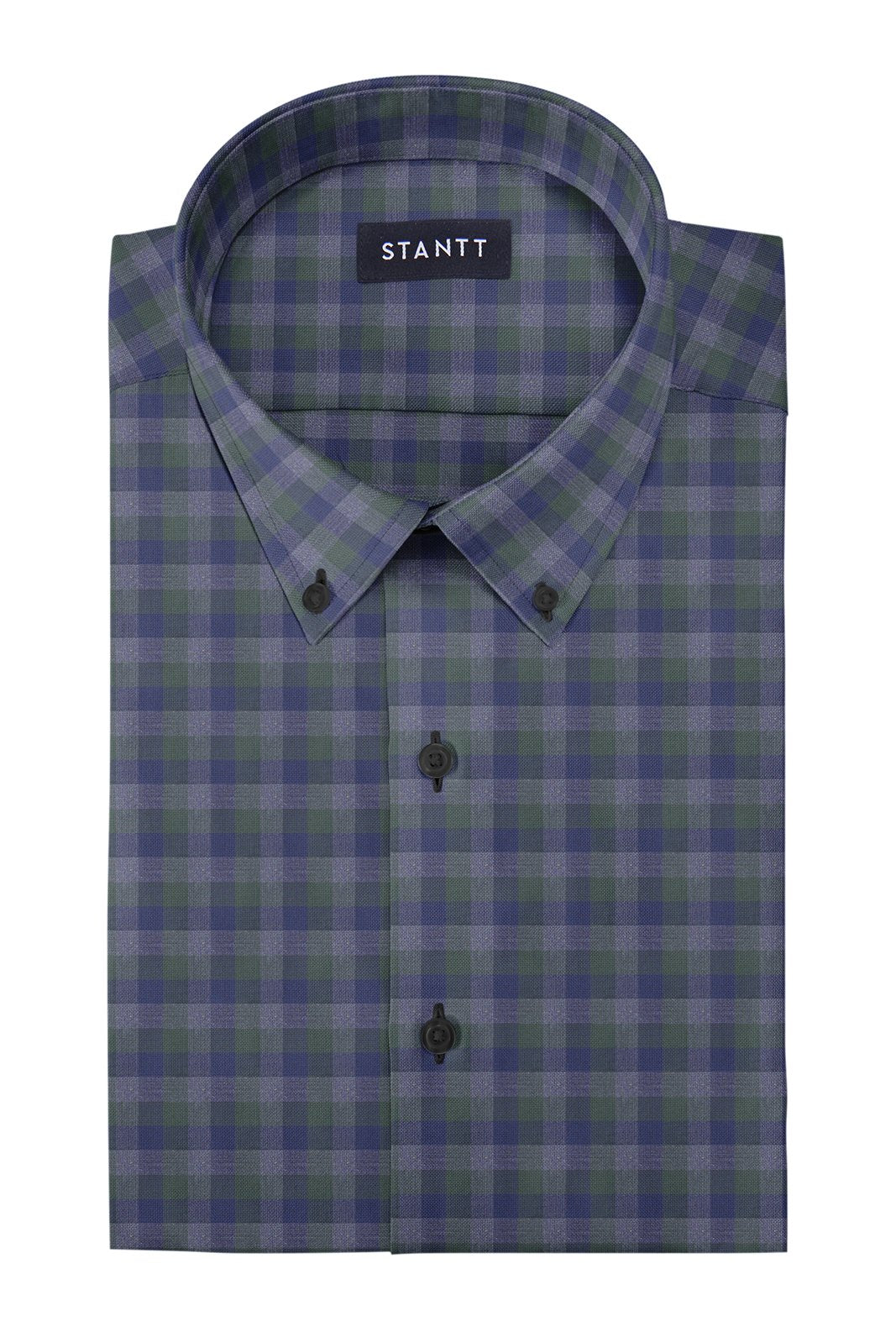 Hunter Green Charcoal Multi Check: Button-Down Collar, Barrel Cuff
