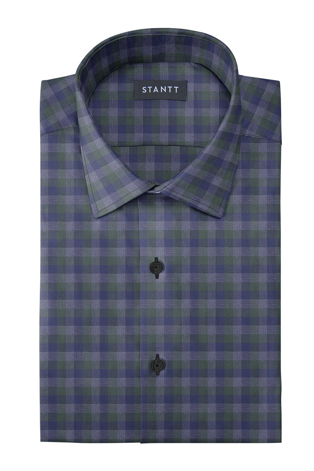 Shirts Hunter Green Charcoal Multi Check Button Up Stantt