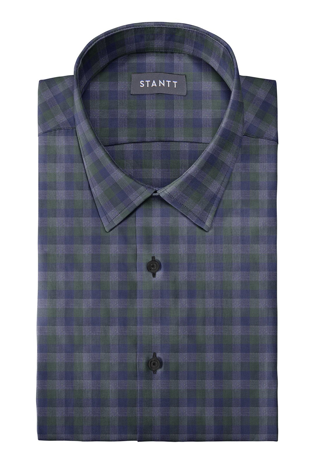 Hunter Green Charcoal Multi Check: Semi-Spread Collar, Barrel Cuff