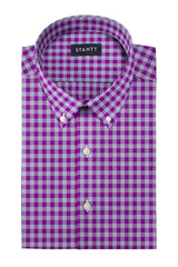 Purple and Grey Gingham: Button-Down Collar, Barrel Cuff