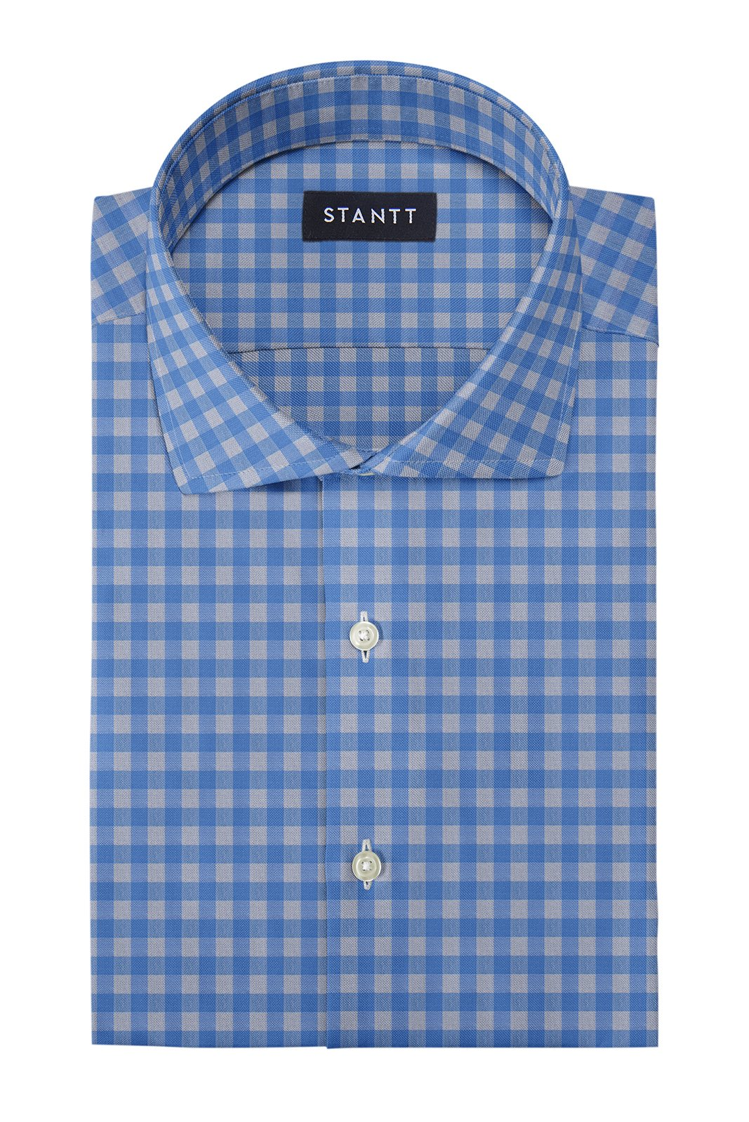 Blue and Grey Gingham: Cutaway Collar, French Cuff
