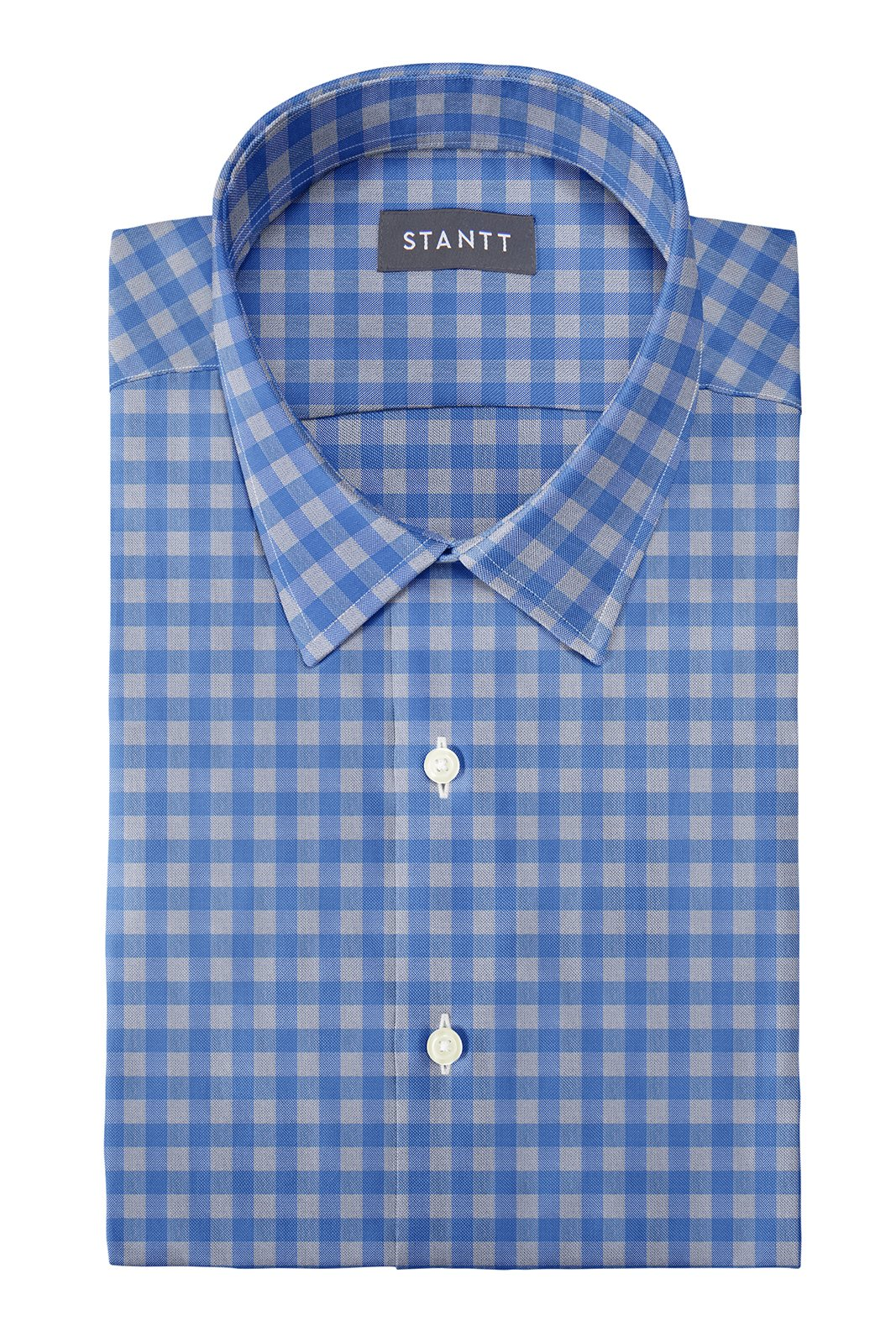 Blue and Grey Gingham: Semi-Spread Collar, Barrel Cuff