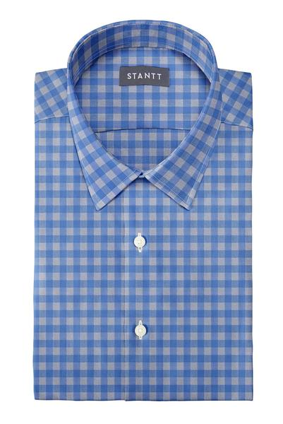 Blue and Grey Gingham: Semi-Spread Collar, French Cuff