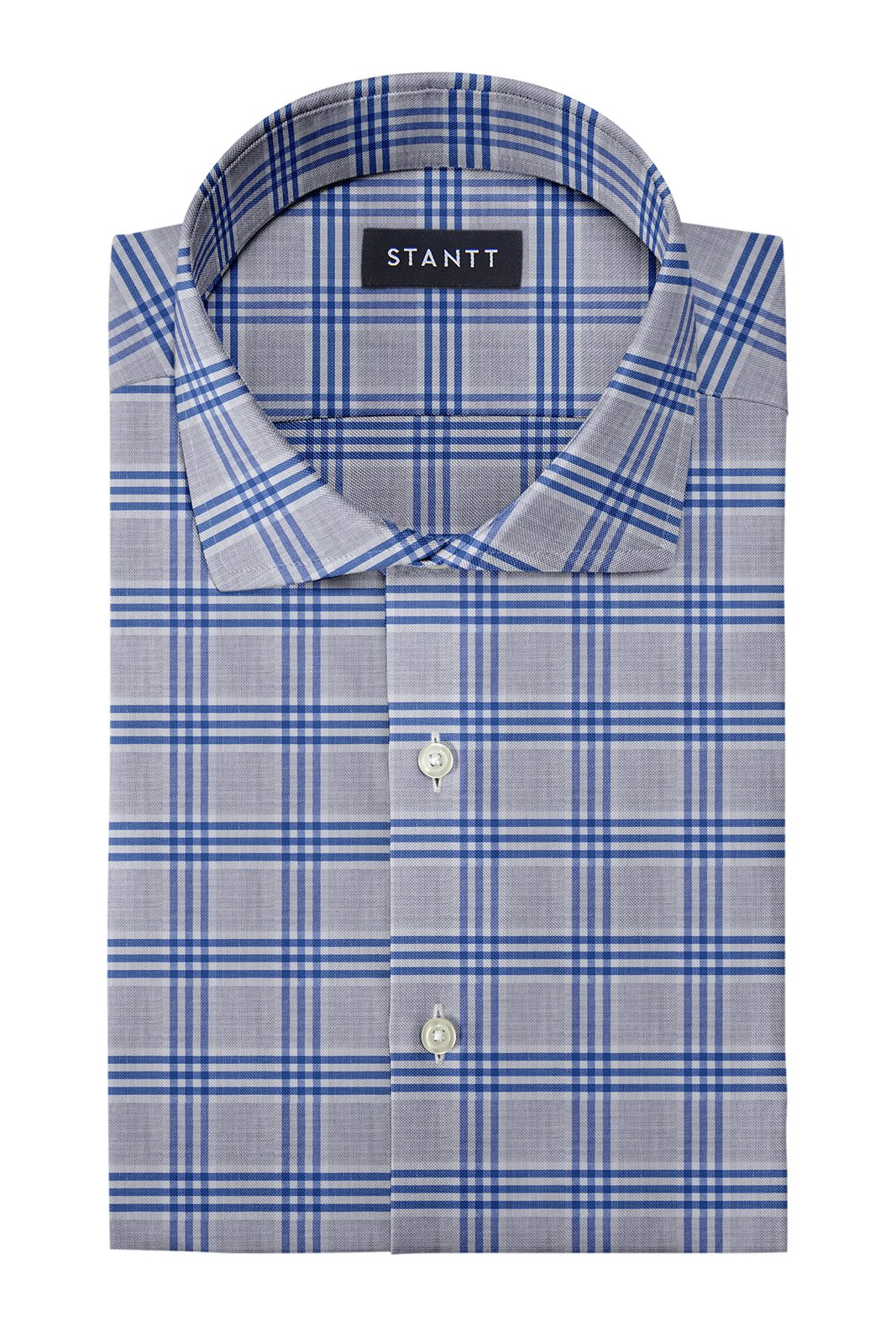 Melange Grey and Blue Box Check: Cutaway Collar, French Cuff