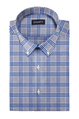 Melange Grey and Blue Box Check: Button-Down Collar, Barrel Cuff