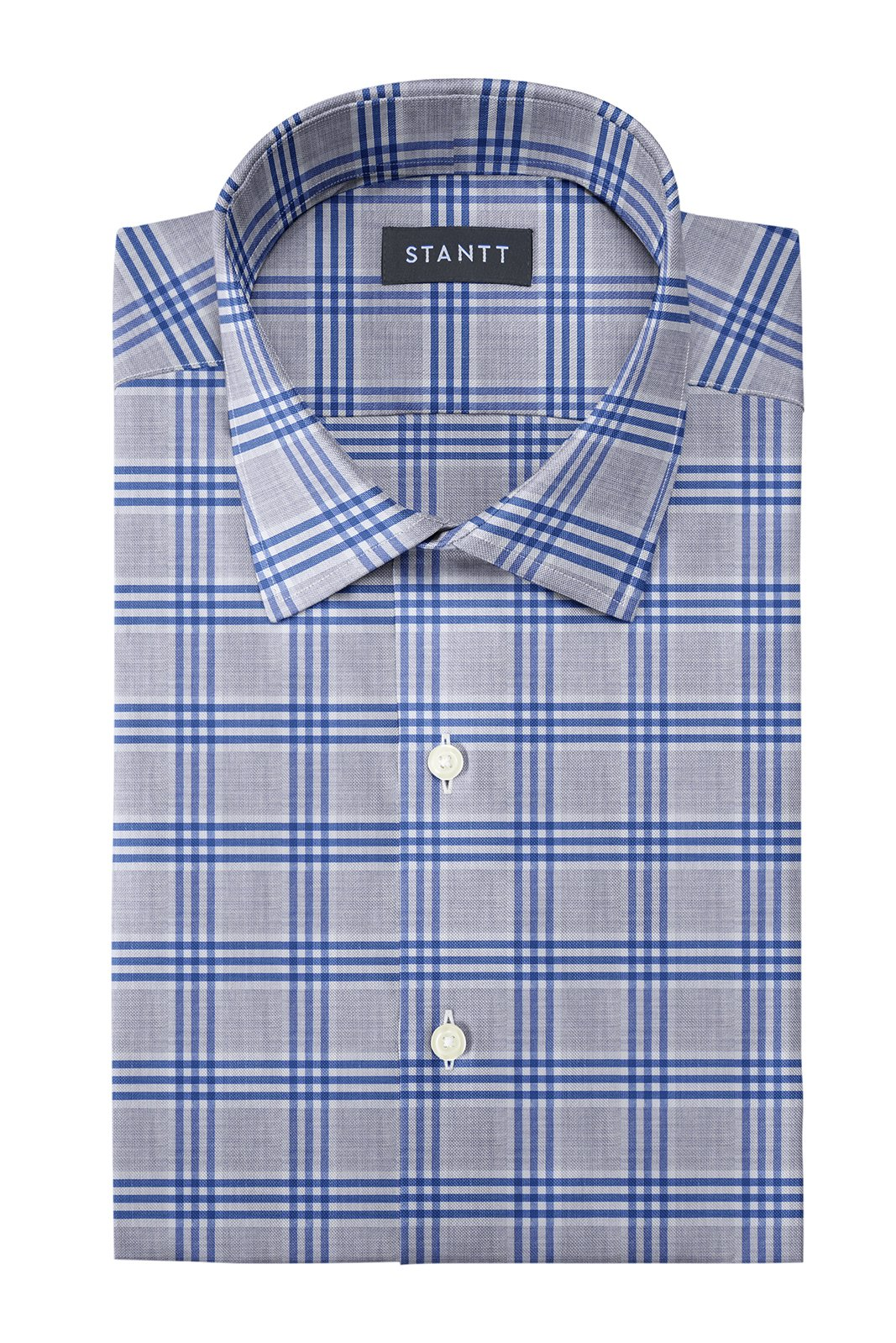 Melange Grey and Blue Box Check: Modified-Spread Collar, French Cuff