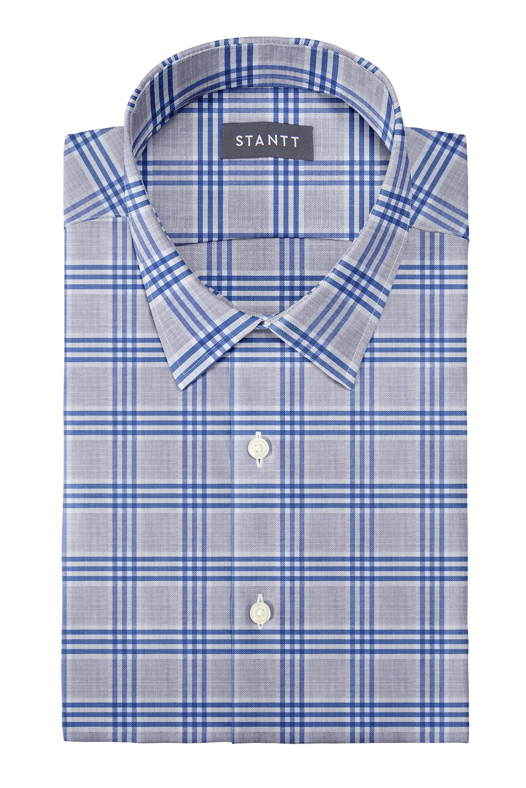 Melange Grey and Blue Box Check: Semi-Spread Collar, French Cuff