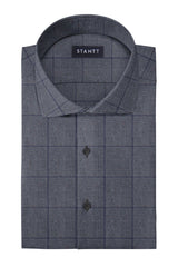 Donegal Grey Oversized Check: Cutaway Collar, Barrel Cuff