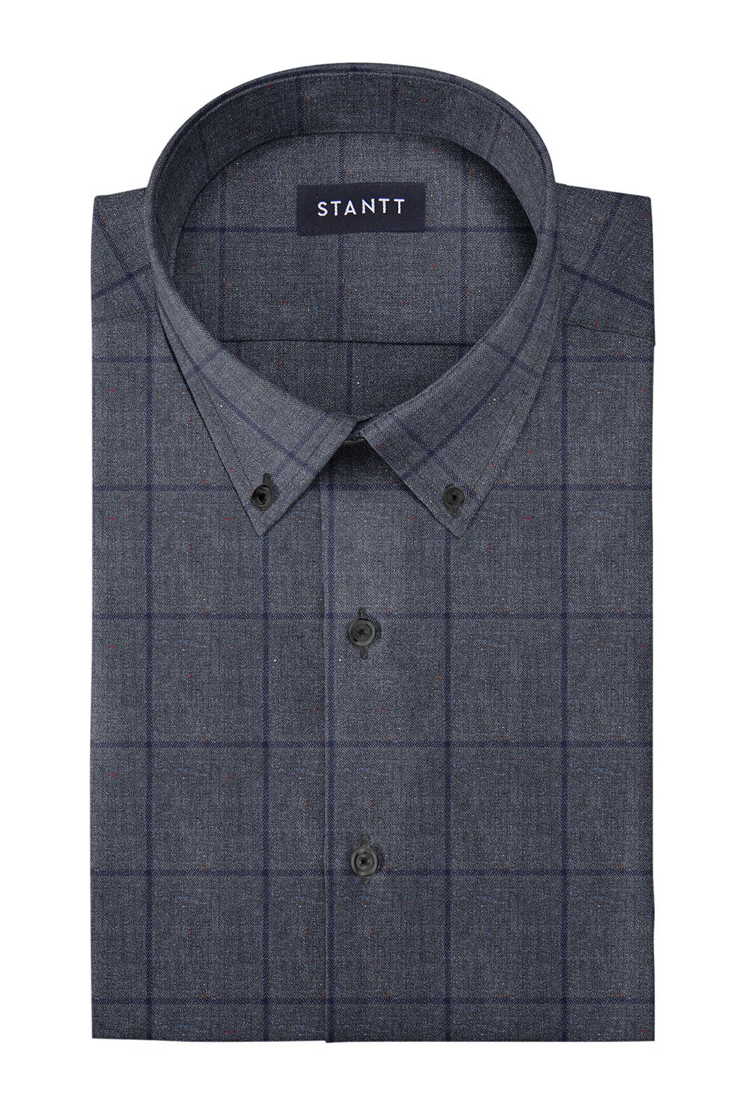 Donegal Grey Oversized Check: Button-Down Collar, Barrel Cuff