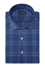 Blue on Navy Melange Check: Cutaway Collar, French Cuff