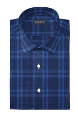 Blue on Navy Melange Check: Modified-Spread Collar, Barrel Cuff