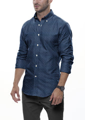 Quad Dot Printed Chambray: Modified-Spread Collar, French Cuff
