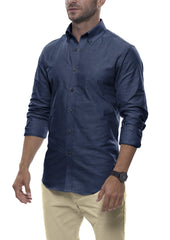 Donegal Dark Denim: Button-Down Collar, Barrel Cuff
