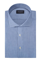 Indigo Oxford Chambray: Cutaway Collar, Barrel Cuff