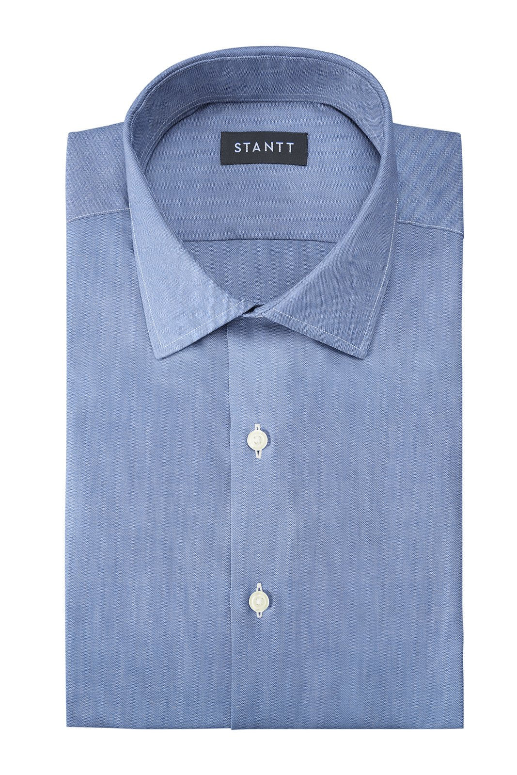 Indigo Oxford Chambray: Modified-Spread Collar, Barrel Cuff