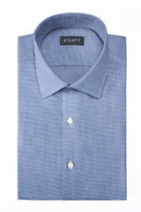 Indigo Oxford Chambray: Modified-Spread Collar, French Cuff