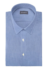 Indigo Oxford Chambray: Semi-Spread Collar, French Cuff