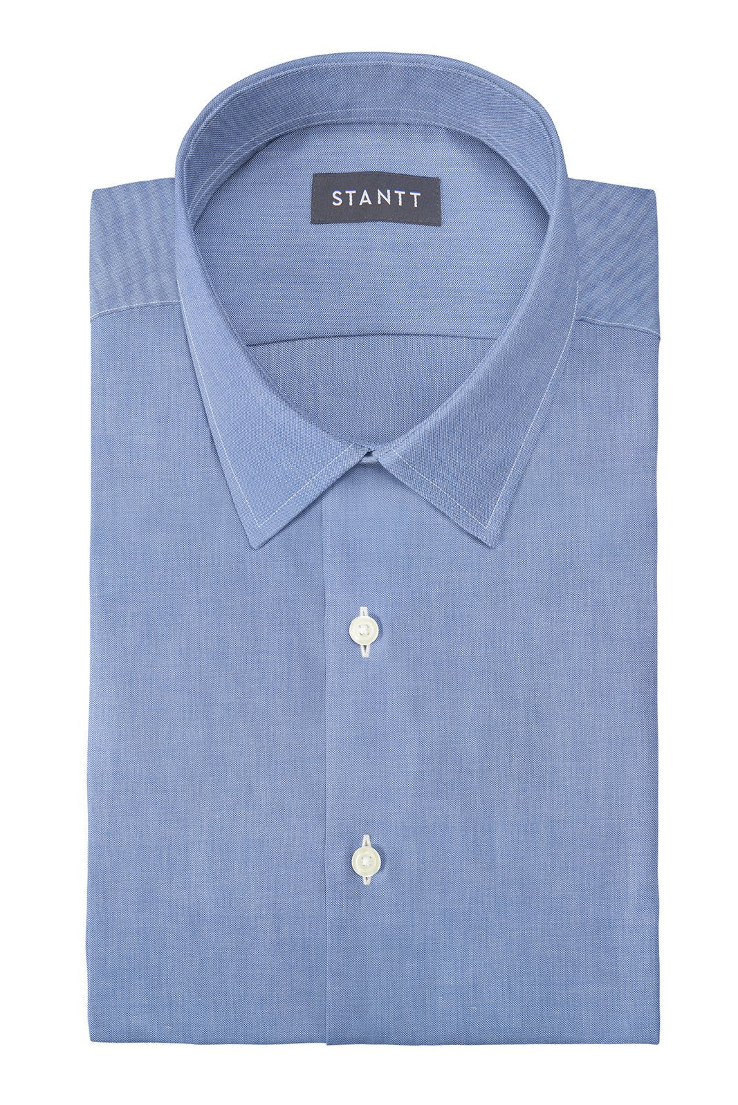 Indigo Oxford Chambray: Semi-Spread Collar, Barrel Cuff