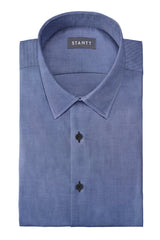Dark Chambray: Semi-Spread Collar, French Cuff