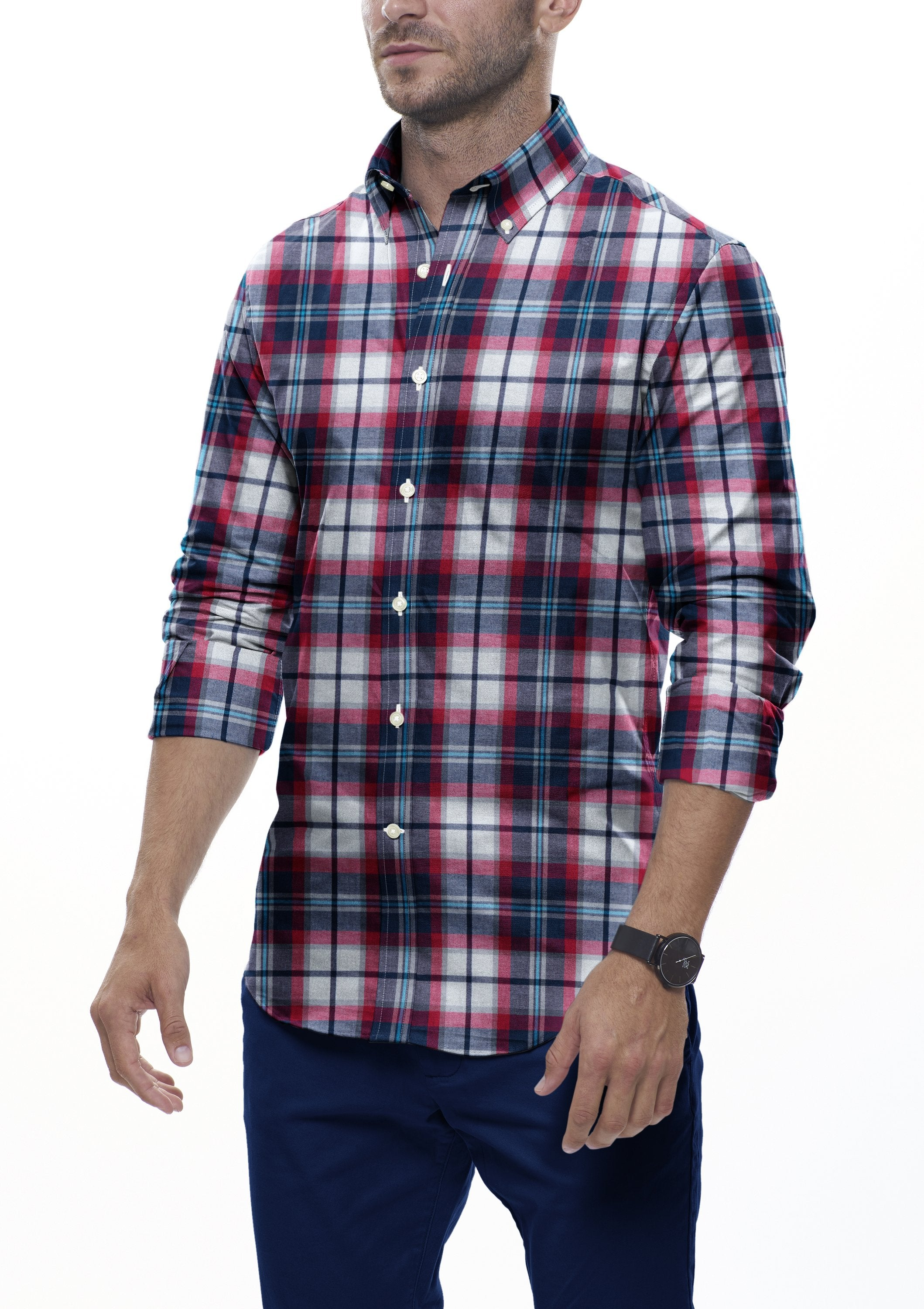 Red Multi Plaid Flannel: Button-Down Collar, Barrel Cuff