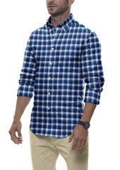 Blue Accented Check Flannel: Button-Down Collar, Barrel Cuff