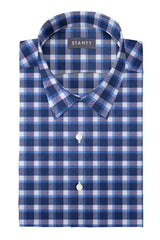Blue Accented Check Flannel: Semi-Spread Collar, Barrel Cuff
