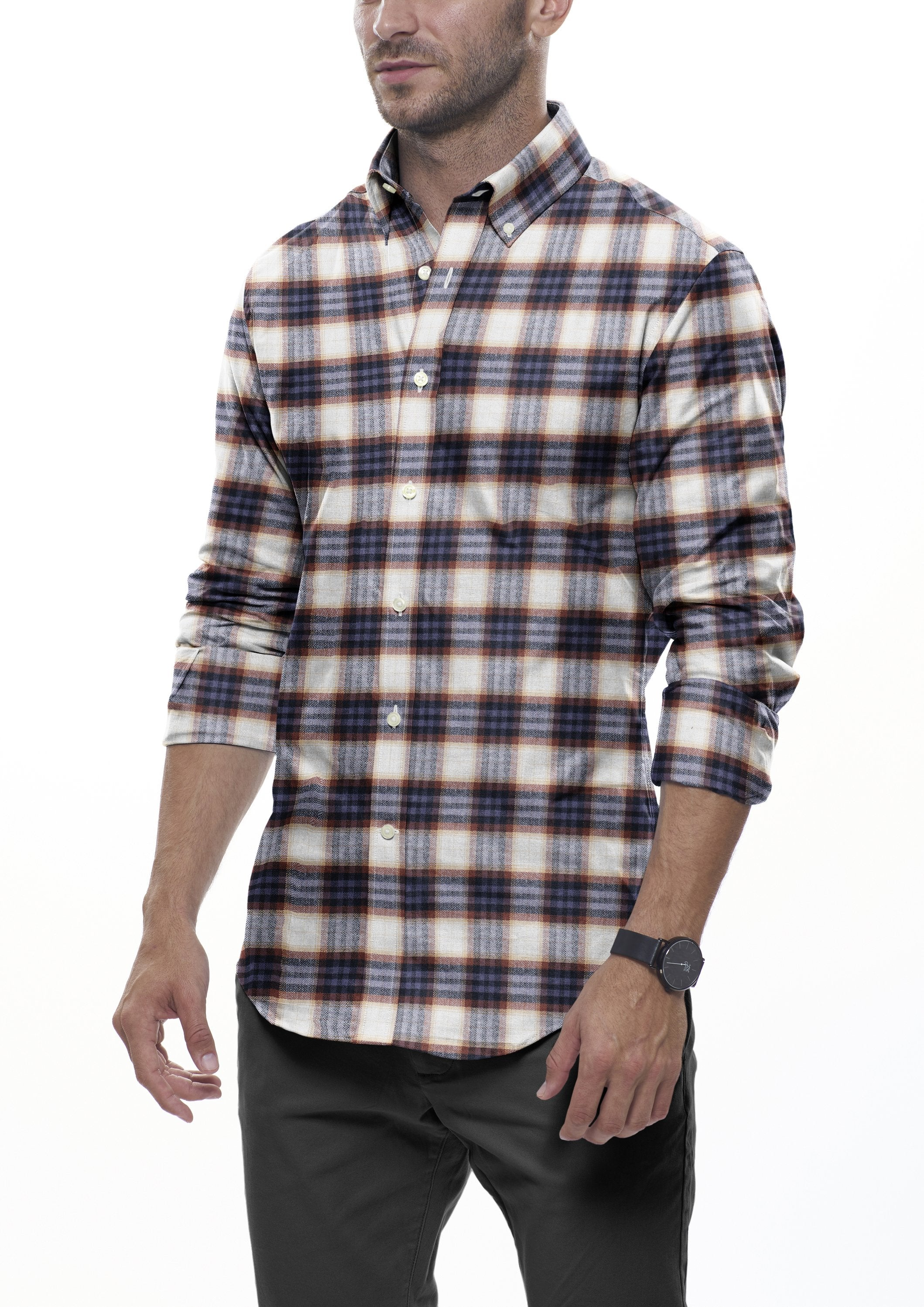 Brown and Sand Plaid Flannel: Button-Down Collar, Barrel Cuff