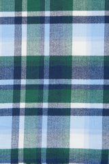 Green Herringbone Flannel: Semi-Spread Collar, Barrel Cuff
