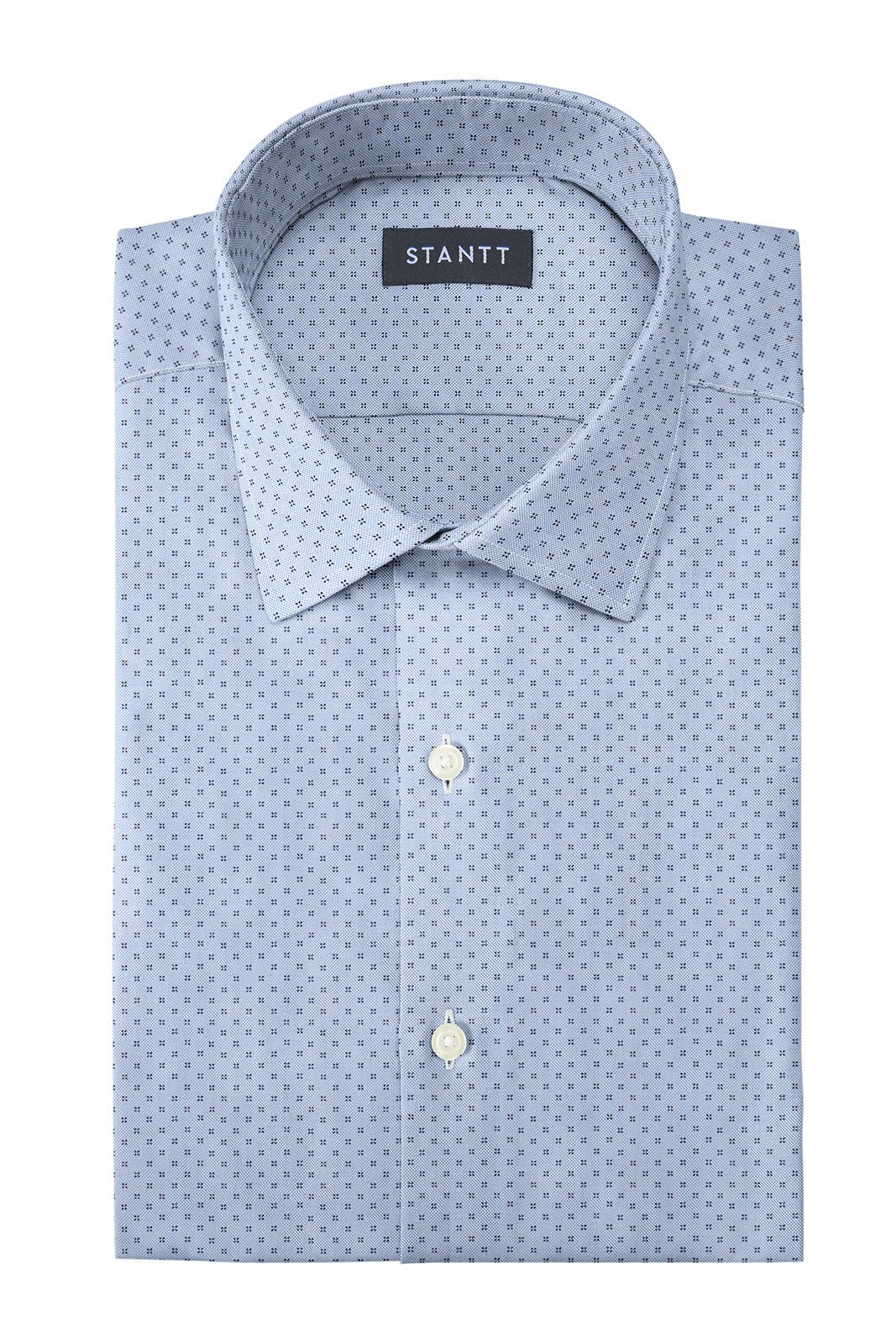 Light Blue Pinpoint Dot: Modified-Spread Collar, French Cuff