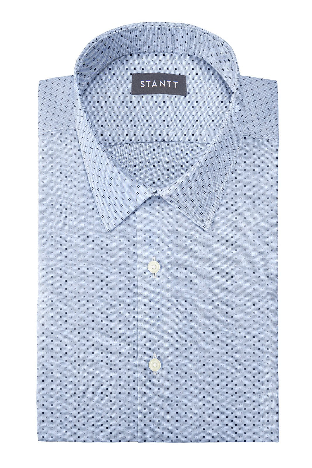 Light Blue Pinpoint Dot: Semi-Spread Collar, Barrel Cuff