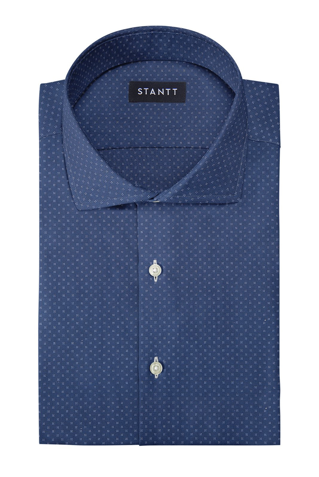 Navy Pinpoint Dot: Cutaway Collar, French Cuff