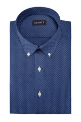 Navy Pinpoint Dot: Button-Down Collar, Barrel Cuff
