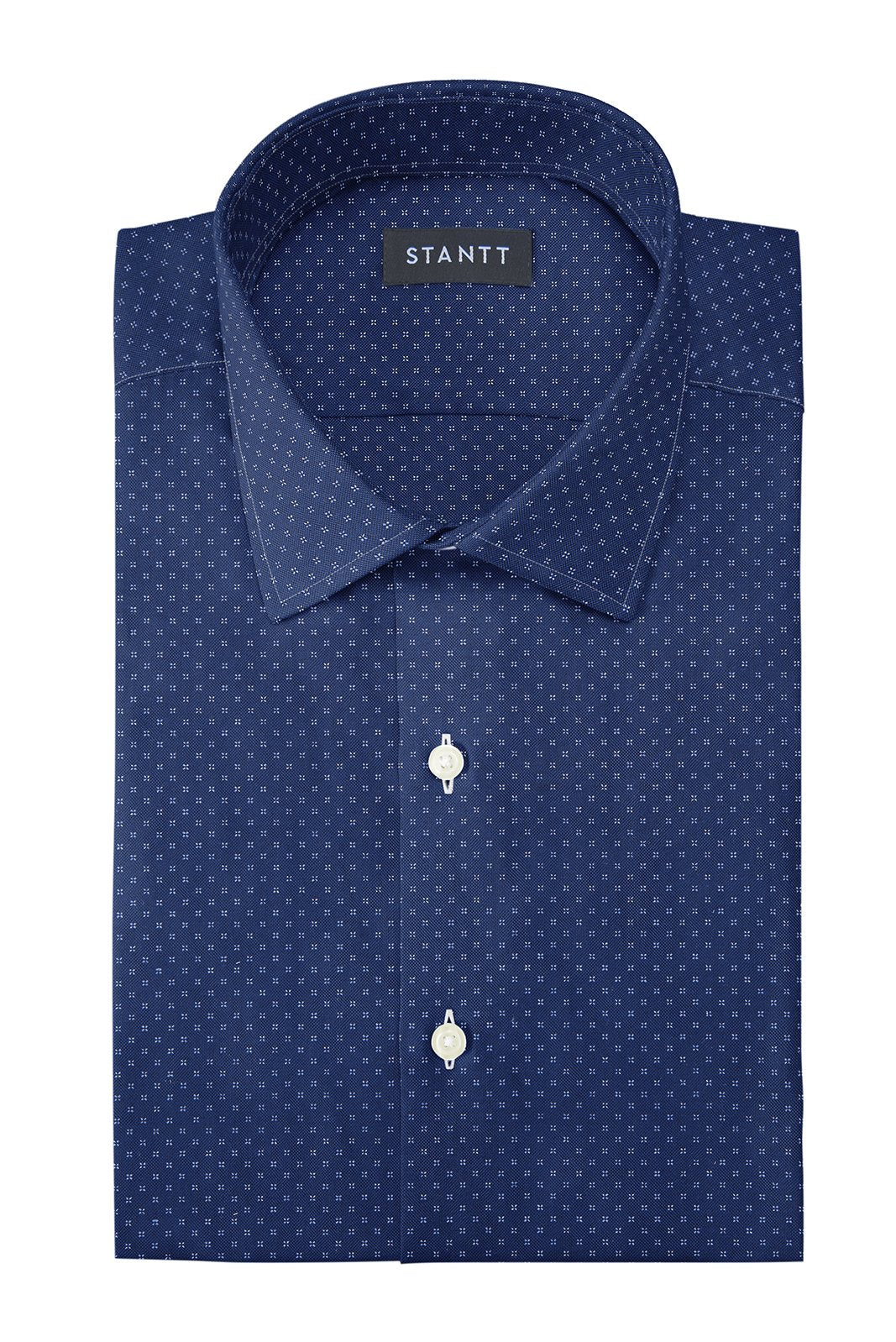 Navy Pinpoint Dot: Modified-Spread Collar, French Cuff