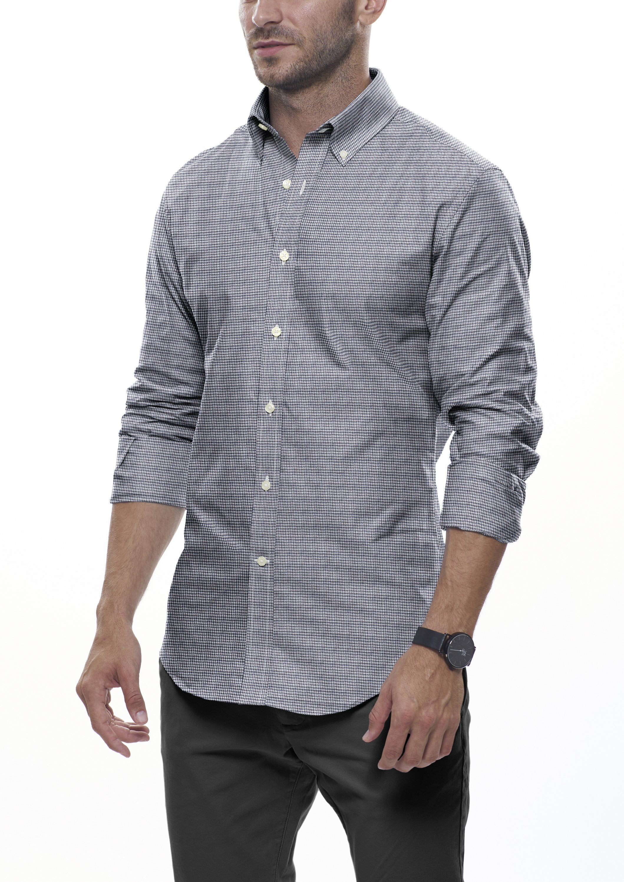 Grey Houndstooth Flannel: Button-Down Collar, Barrel Cuff