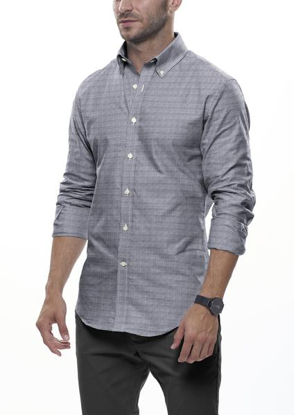 Grey Houndstooth Flannel: Semi-Spread Collar, Barrel Cuff