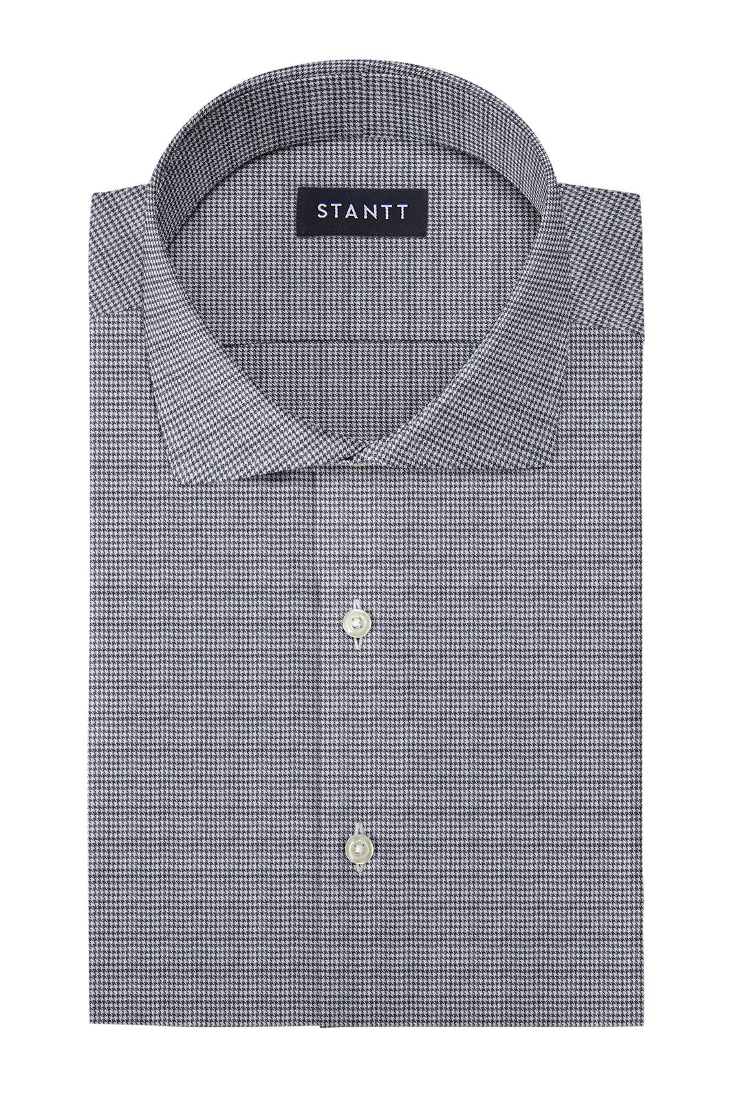 Grey Houndstooth Flannel: Cutaway Collar, Barrel Cuff
