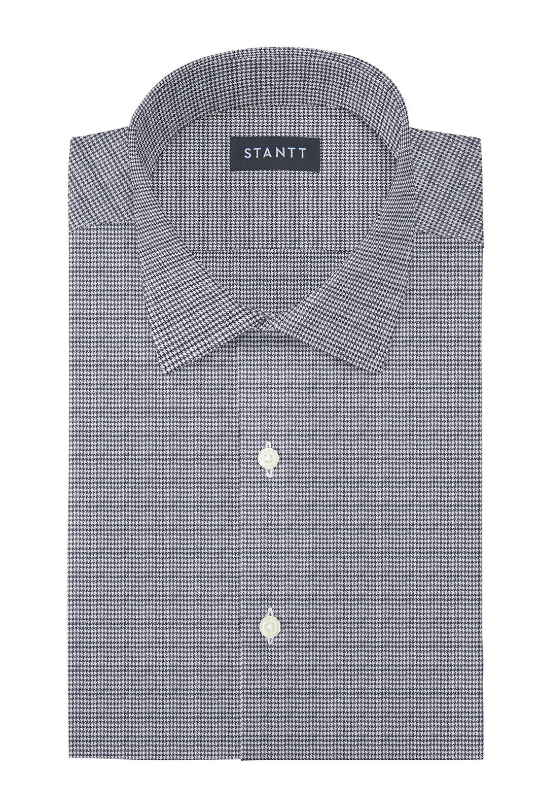 Grey Houndstooth Flannel: Modified-Spread Collar, French Cuff