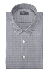 Grey Houndstooth Flannel: Semi-Spread Collar, French Cuff