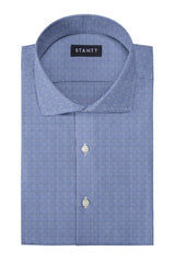 Slate Blue Houndstooth Flannel: Cutaway Collar, French Cuff