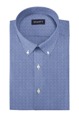 Slate Blue Houndstooth Flannel: Button-Down Collar, Barrel Cuff