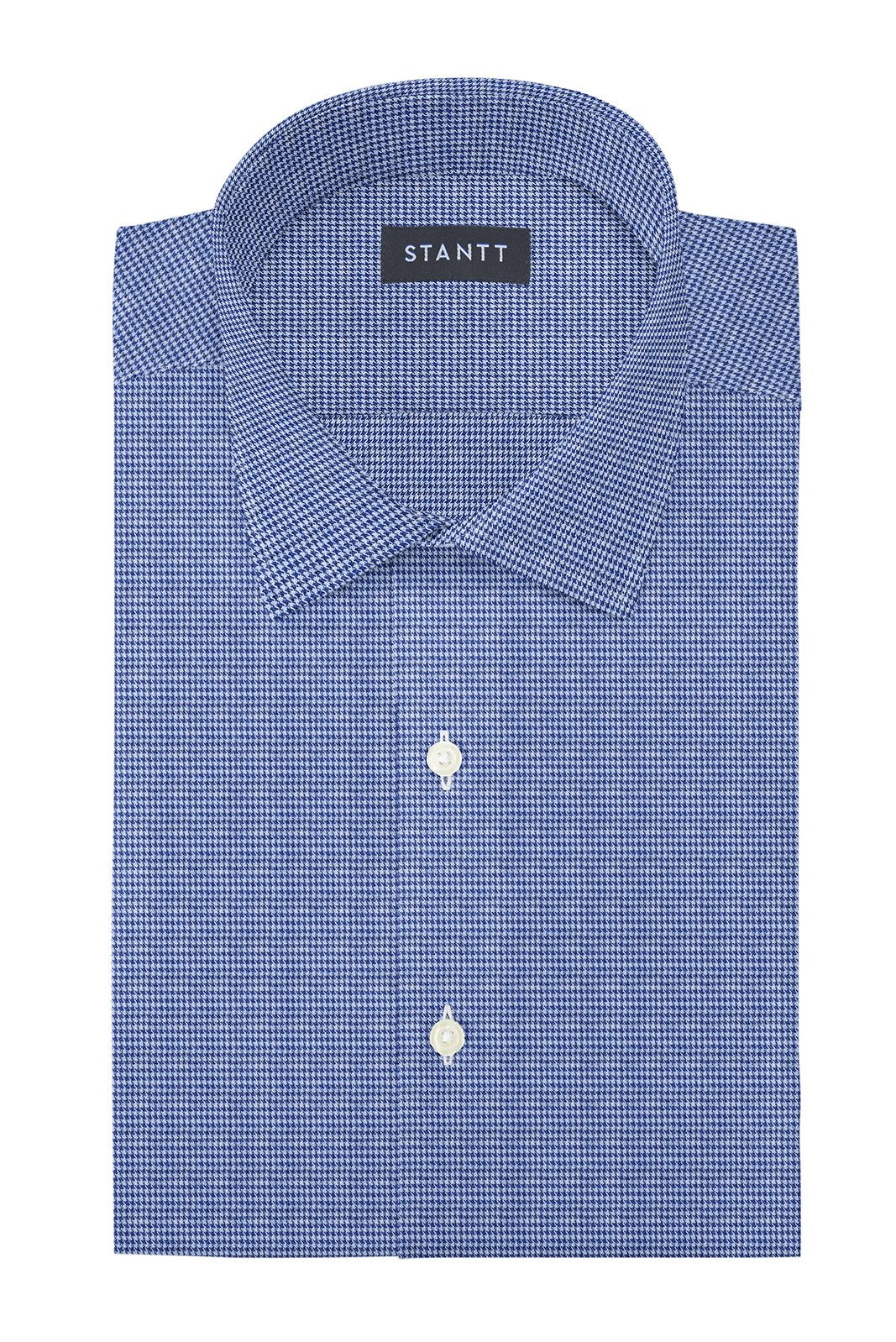 Slate Blue Houndstooth Flannel: Modified-Spread Collar, French Cuff