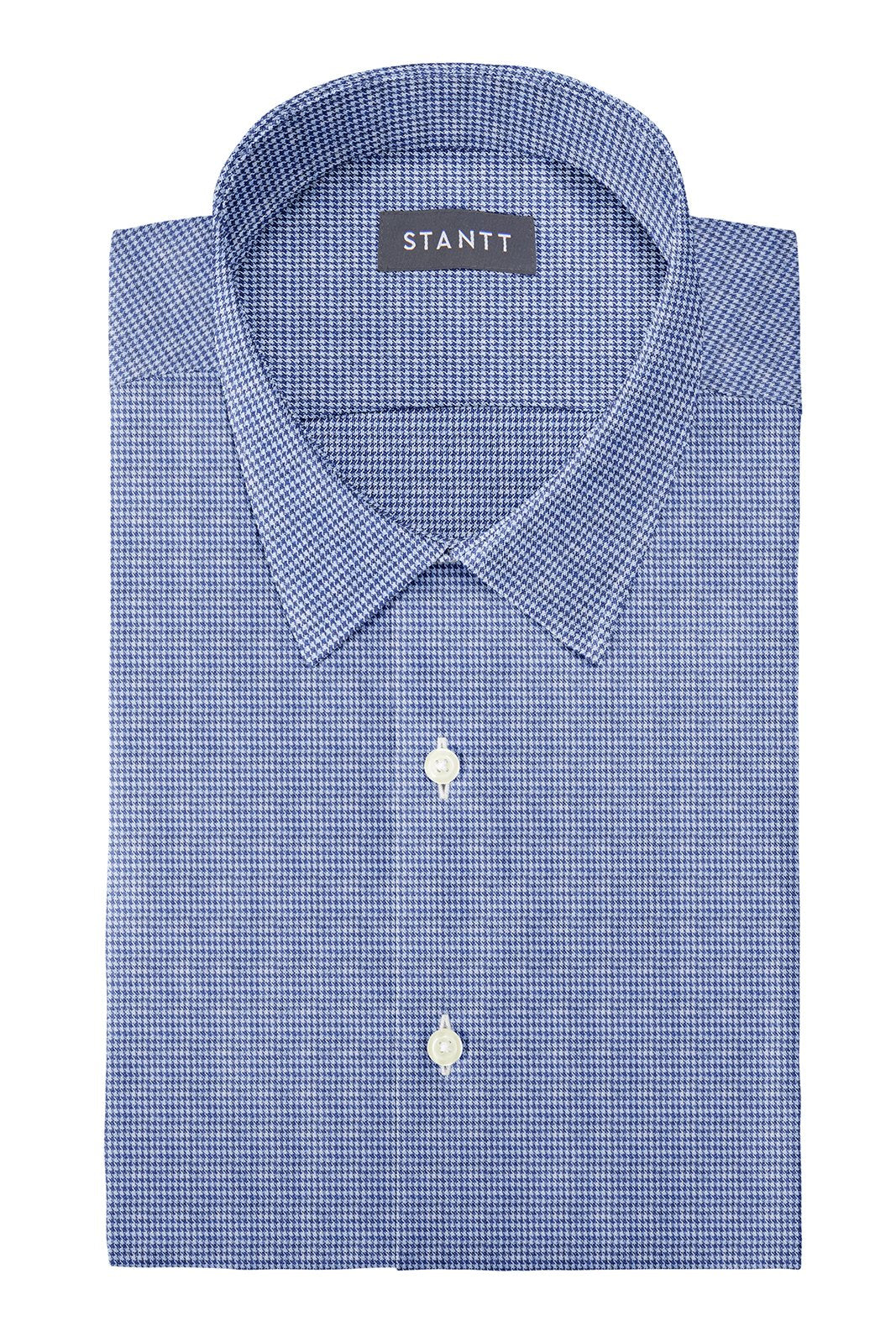 Slate Blue Houndstooth Flannel: Semi-Spread Collar, French Cuff