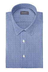 Slate Blue Houndstooth Flannel: Semi-Spread Collar, Barrel Cuff